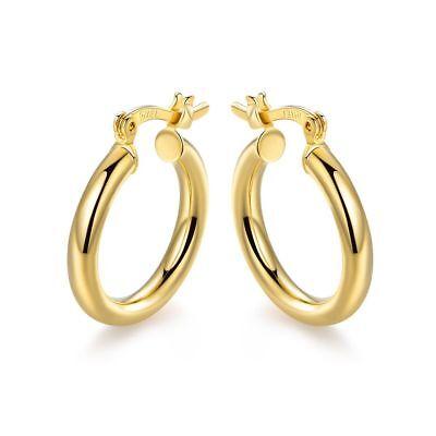 - 18K Gold Plated 15mm Hoop Earrings