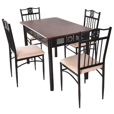 سفرة جديد 5 Piece Dining Set Wood Metal Table and 4 Chairs Kitchen Breakfast Furniture New