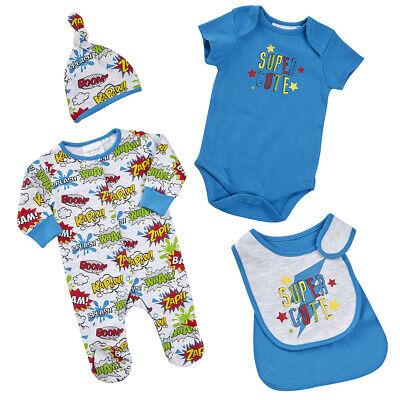 Super Hero Baby (Baby Boys 4 Piece Set 'Super Cute' Super hero 6-9)