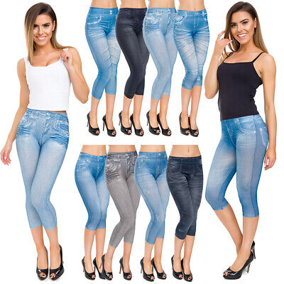 Womens Denim Acid Look Capri Leggings High Waisted Trousers 3/4 Slim Pants LR712 Bamboo Capri Hose