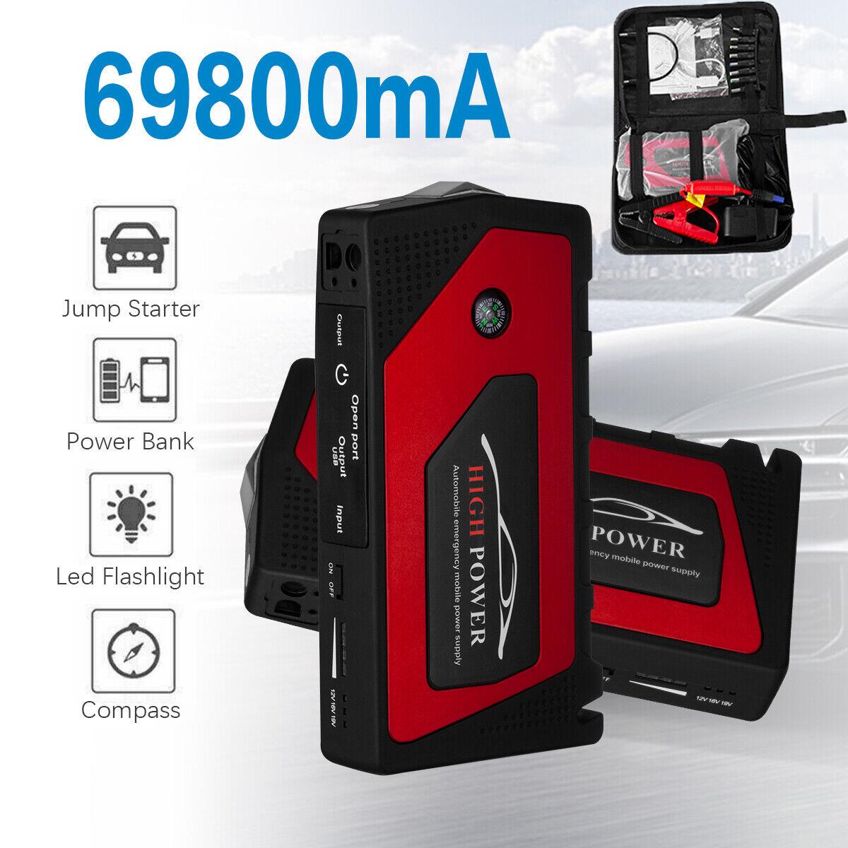 69800mAh Car Jump Starter 12V Portable USB Power Bank Battery Booster Box Clamp