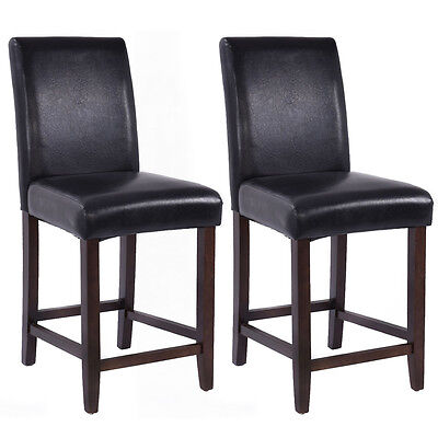 Set of 2 Kitchen Bar Stools Padded Dining Height Wood Chairs Room Furniture
