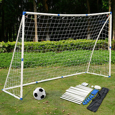 8X6FT Football Soccer Goal Set PVC Post W/Net Sports Training match W/Carrybag
