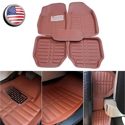 Universal Brown Car Floor Mats Front  Rear All Weather Carpet Anti Slip protect