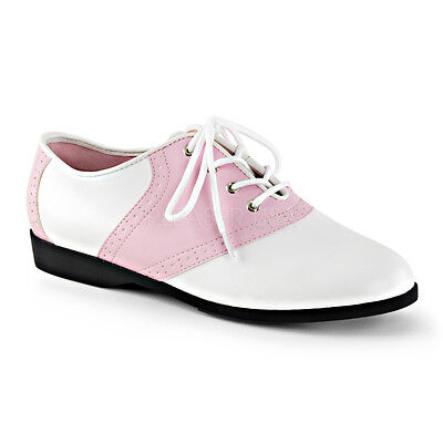 SAD50/BP-WPU Women's Baby Pink & White Retro 50's Halloween Costume Saddle Shoes