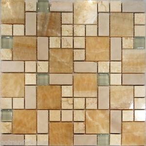 1sf square pattern honey onyx crema marfil glass mosaic