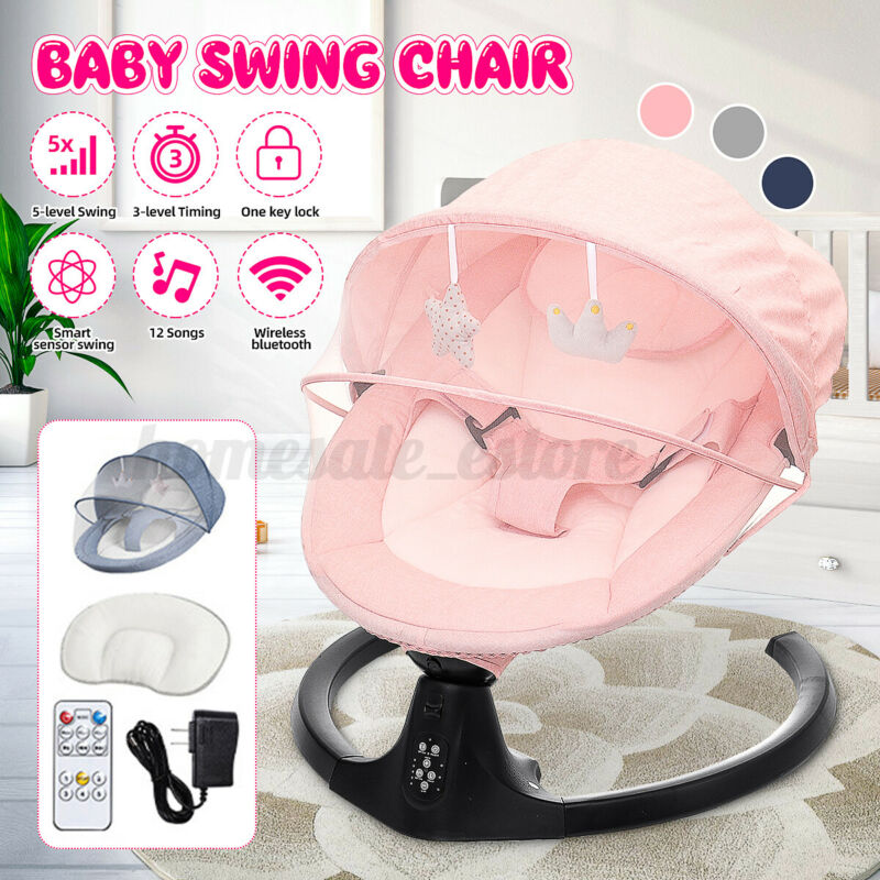 bluetooth Electric Rocker Baby Swing Infant Portable 5-speeds Sleeping Cradle