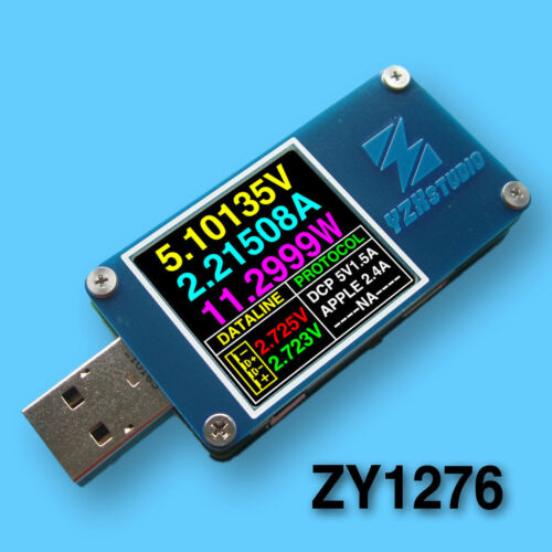 YZXstudio ZY1276 USB Power Monitor QC 3.0 TypeC PowerDelivery PD tester FCP AFC