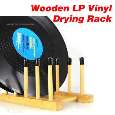 Wooden LP Record Storage Drying Rack Vinyl Album Dryer Stand Holder Airing Frame