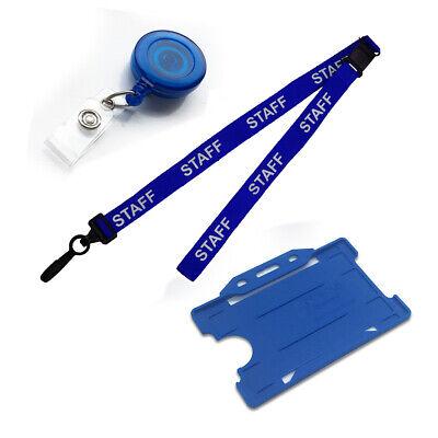 NHS Blue Neck Strap STAFF Lanyard J-Clip, ID Badge Holder & Retractable YoYo