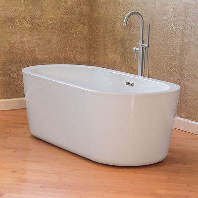 "67"" Bathtub Glossy White Acrylic Freestanding Luxury Spa Vintage LTF1 LessCare"