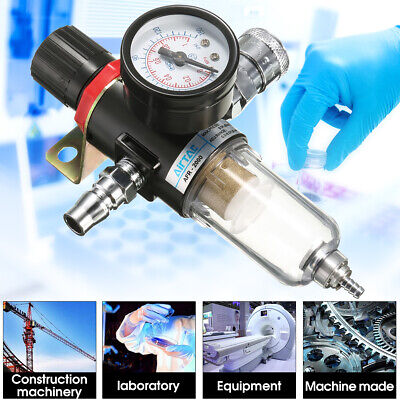 14 Air Compressor Filter Oil Water Separator Trap Tools With Regulator Gauge