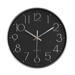 Large Black Wall Clock Modern Battery Operated Silent Non-Ticking Wall Clock