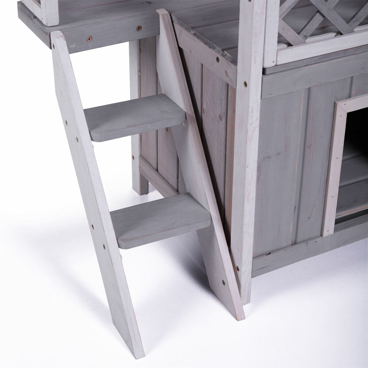 Dog House Outdoor Shelter Roof Cat Condo Wood Steps Balcony Puppy Stairs Grey - $45.57