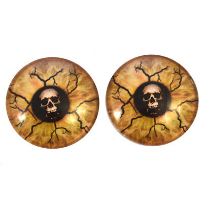 Scary Eyes For Halloween (Pair of 25mm Scary Death Skull Glass Eyes for Jewelry or Taxidermy Doll)