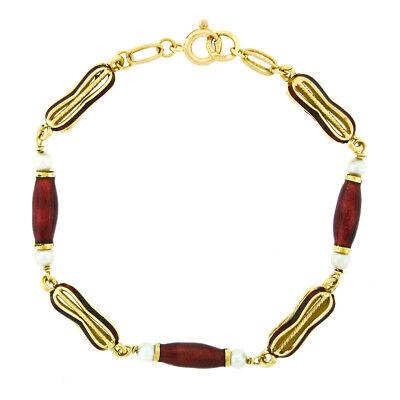 Italienische Vintage 18K Gelbgold Rote Emaille & Perle Verziert Kostüm Link - Roter Link Kostüm