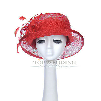 New Red Ladies Church Kentucky Derby Hat Sinamay Wide Brim Wedding Party Bowler