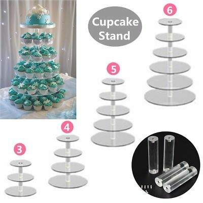 Us Stock 4 6 Tier Crystal Glass Round Wedding Cupcake Stand Tower Cake Stand