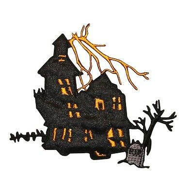 ID 0862 Haunted House Patch Halloween Scary Scene Embroidered Iron On Applique](Scary Halloween Scenery)