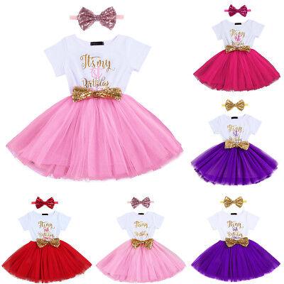 Kleinkinder Baby Mädchen 1. 2. Geburtstag Party Kleid Tüllkleid + Stirnband Set  ()