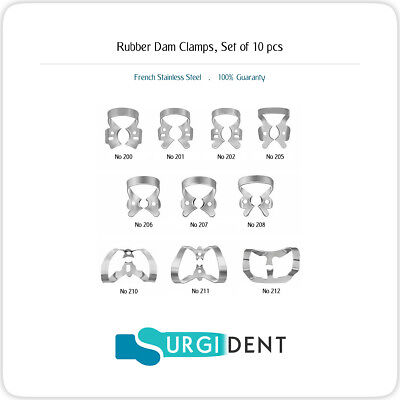 Rubber Dam Clamps Dental Restorative Instruments Set Of 10