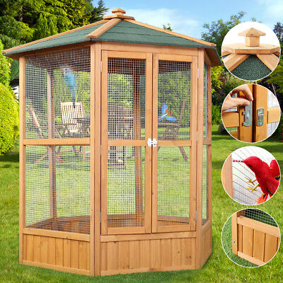 "64"" Large Wooden Hexagonal Aviary Cage House Birds Pets Parrot Canary Poultry"