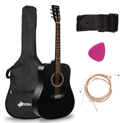 "41"" Acoustic Guitar Steel String W/ Case Strap Pick Strings for Beginners Black"