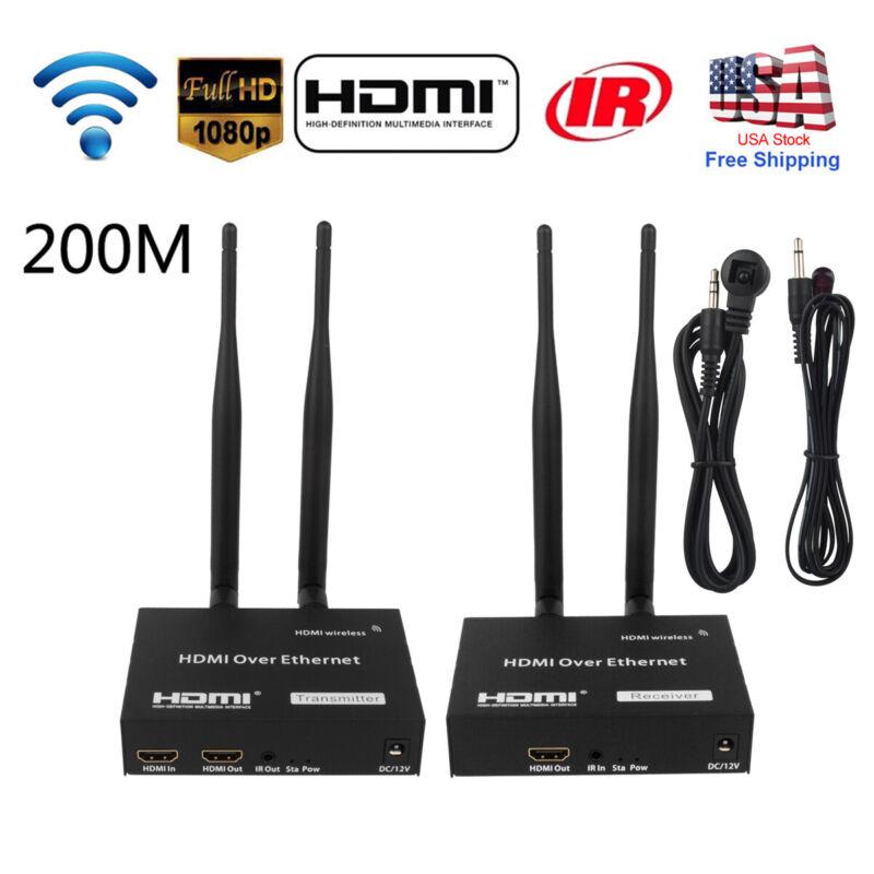 Wireless HDMI Extender 200m Transmitter 1080P Audio Video TV Receiver IR Remote