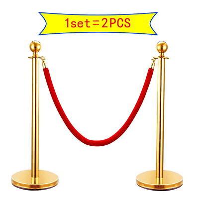 2pcs Velvet Rope Stanchion Silvergold Post Crowd Control Queue Line Barrier