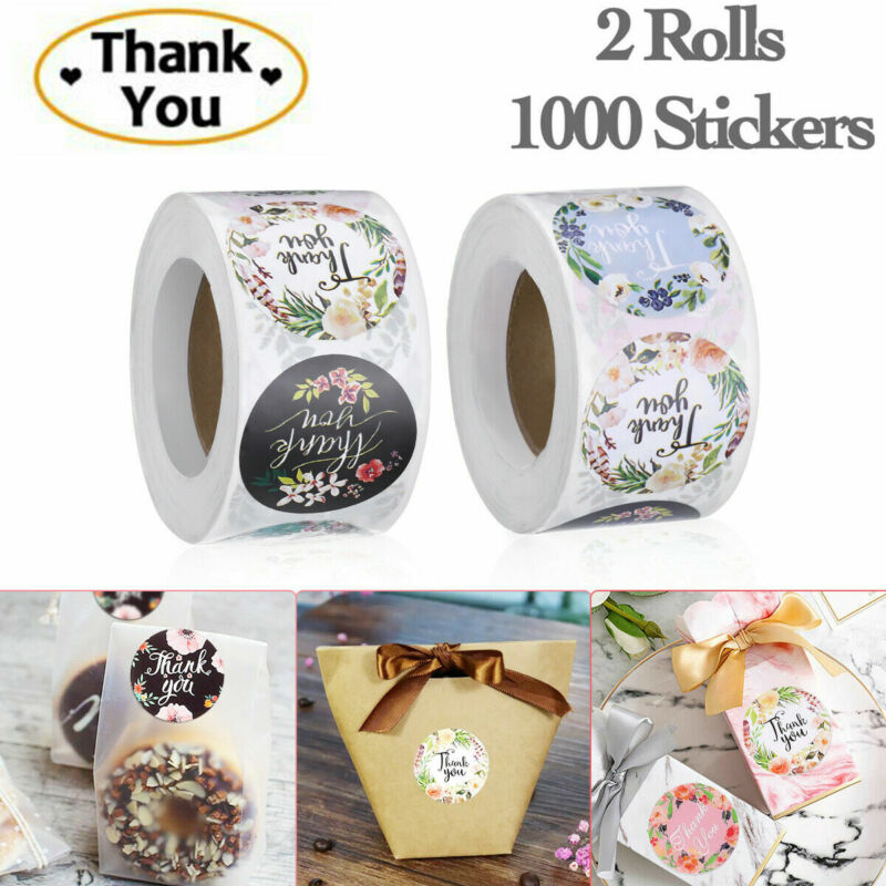 """2 Roll of 1000 Pcs 1"""" Assorted Floral Thank You Stickers Round Sealing Labels US"""