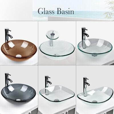 Bathroom Tempered Clear Glass Vessel Sink Bath Basin Bowl Faucet Drain Combo US