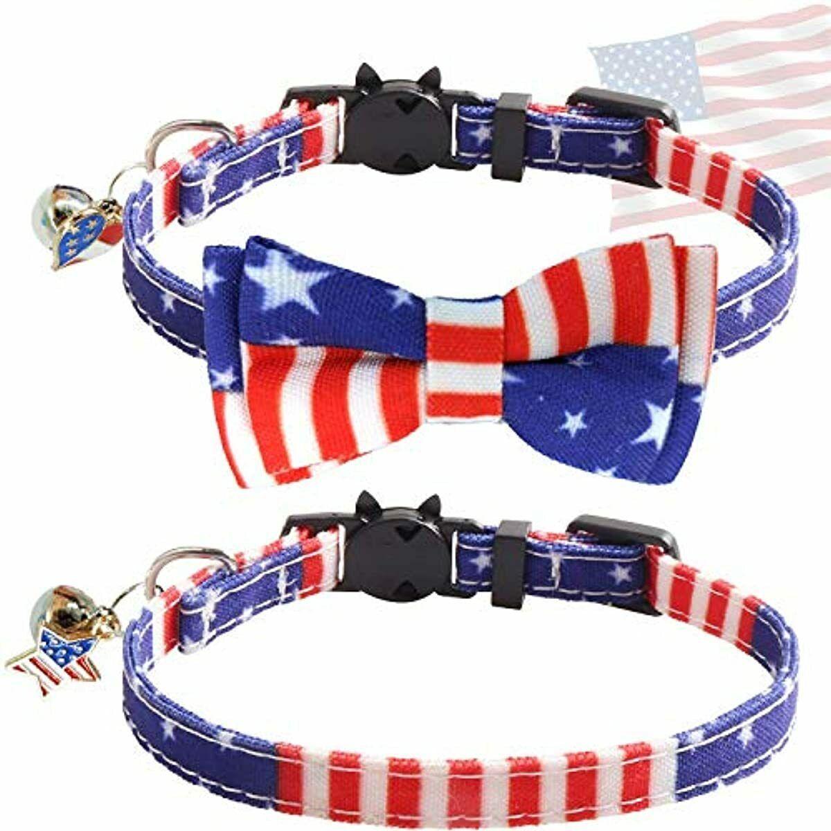 KUDES 2 Pack/Set American US Flag Breakaway Cat Collar and B