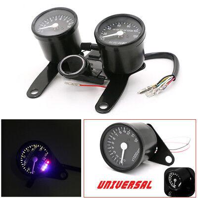 12V Universal Motorcycle Speedometer Odometer Tachometer Gauges Meter w/ Bracket