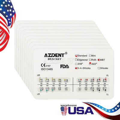 20 Kits Dental Orthodontic Brackets Standard Mbt Slot.022 Hooks 345 Usps Azdent