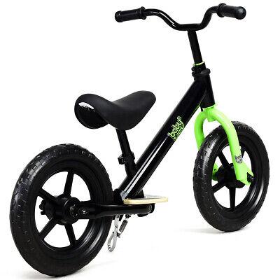 "12"" Kids Balance Bike No Pedal Child Play Bicycle w/ Adjustable Seat Black"