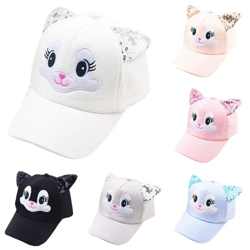 Kinder Mädchen Junge Baseball Basecap Kappe Sommer Hute Sonnenhut mit Katzenohr