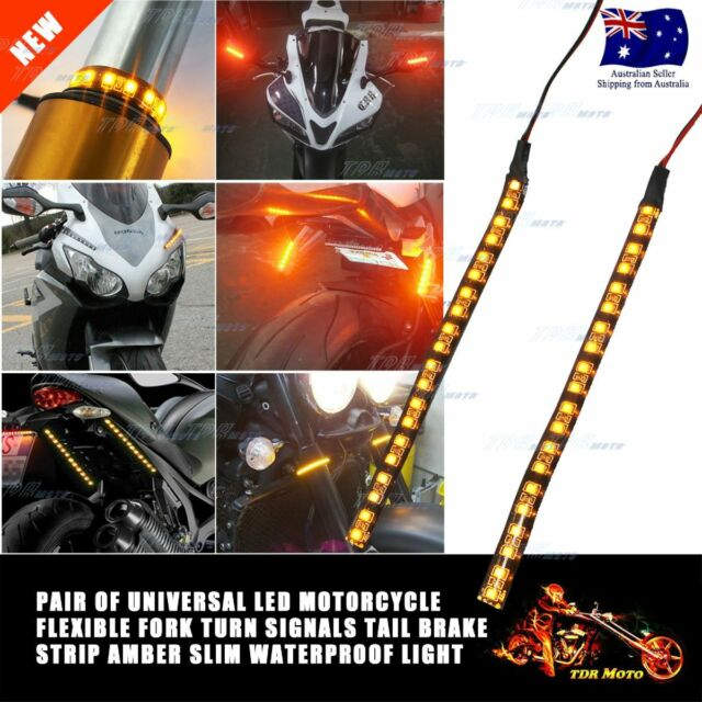 2x 20 LED SMD Motorcycle LED Strip Turn Signal Indicator Blinker Light Amber