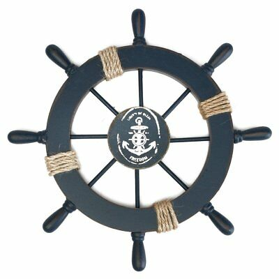 Wooden Nautical Beach Boat Ship Steering Wheel Fishing Net Shell Home Wall Decor - Boat Decorations