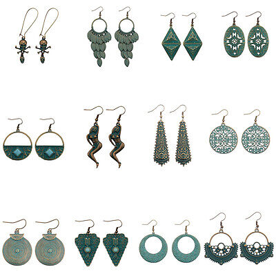 New Women's Vintage Cooper Green Rust Alloy Carved Drop/Dangle Fashion Earrings ()