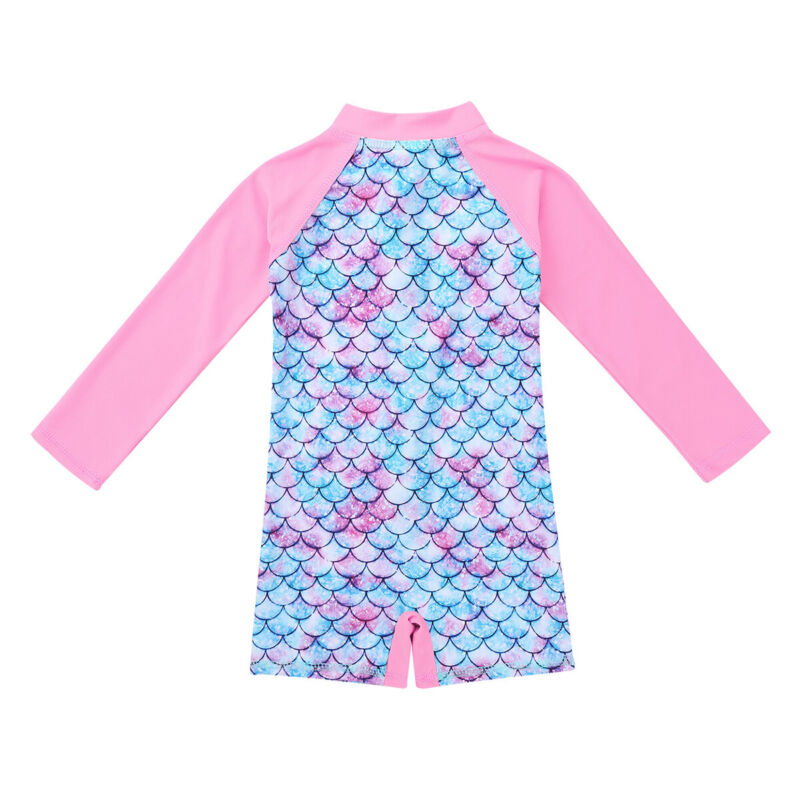 iiniim Children Little Girls Long Sleeve Two Piece Rash Guard Swimsuit Shirt UPF 50 Sun Protection Fish Scales Swimwear