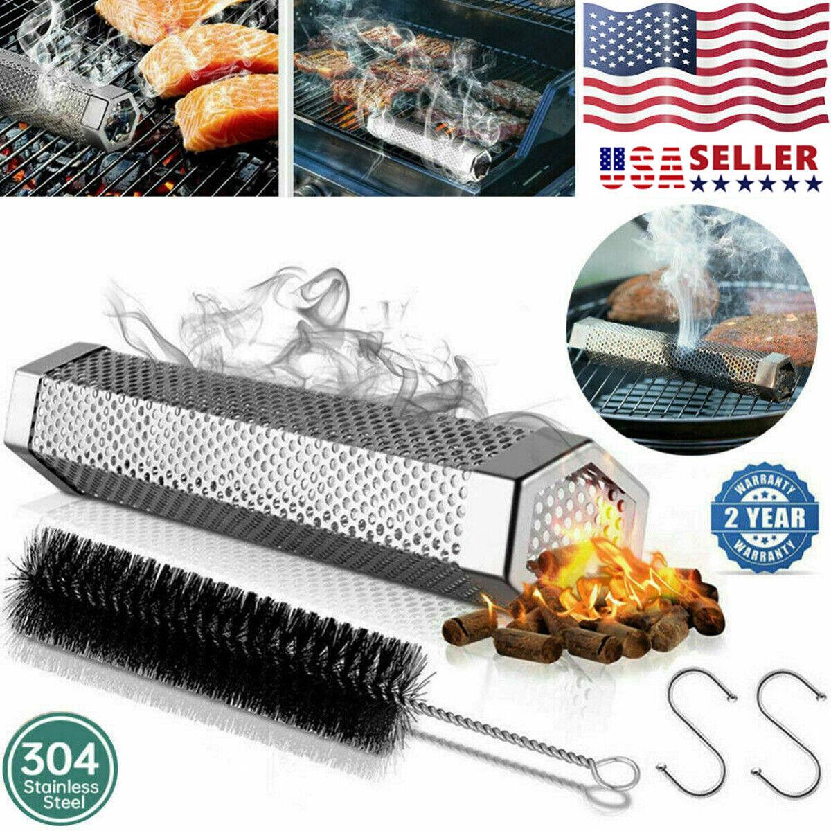 12″ Mesh Barbecue BBQ Smoker Tube Pellet Grill Smoke Pipe