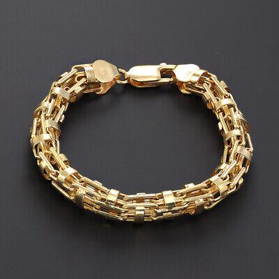 "Mens 9ct Gold Italian Cage Bracelet - 9.25"" - 7.5mm RRP £620 - 0% FINANCE OPTION"