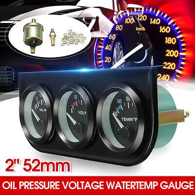 3 CAR Pointer GAUGE WATER TEMP ℉ / OIL PRESSURE / VOLT 2'''' 52MM LED Light