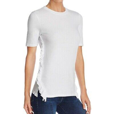 Ruffle Top Denim (FRAME DENIM NEW Women's Cotton Side-ruffle Casual Shirt Top TEDO )