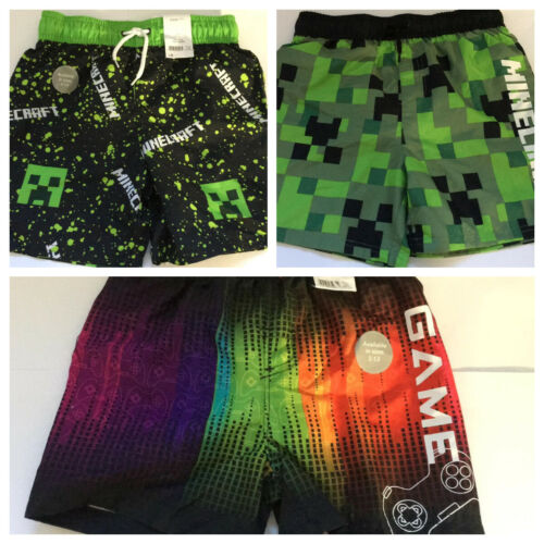 Boys Multi Coloured Game Control Minecraft Swimming Shorts 5,6,7,8,9,10 Years
