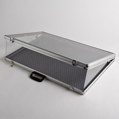 Large Portable Aluminum Glass Counter Top Locking Jewelry Display Case Handle