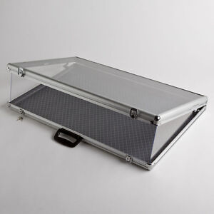 Large Portable Aluminum Gl Counter Top Locking Jewelry Display Case Handle