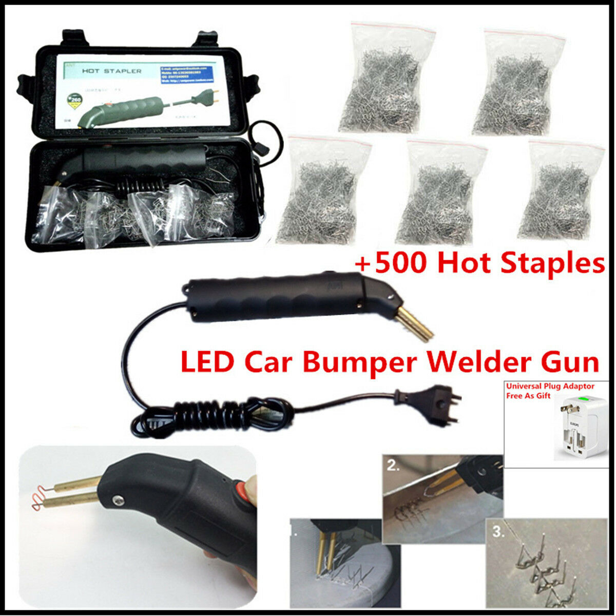 Universal LED 500 stapler Hot Stapler Plastic Repair Kit Car Bumper We