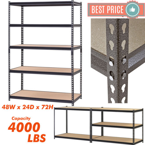 "Heavy Duty Metal Muscle Rack Shelving Storage 48""W x 24""D x 72""H Garage 5 Shelf"