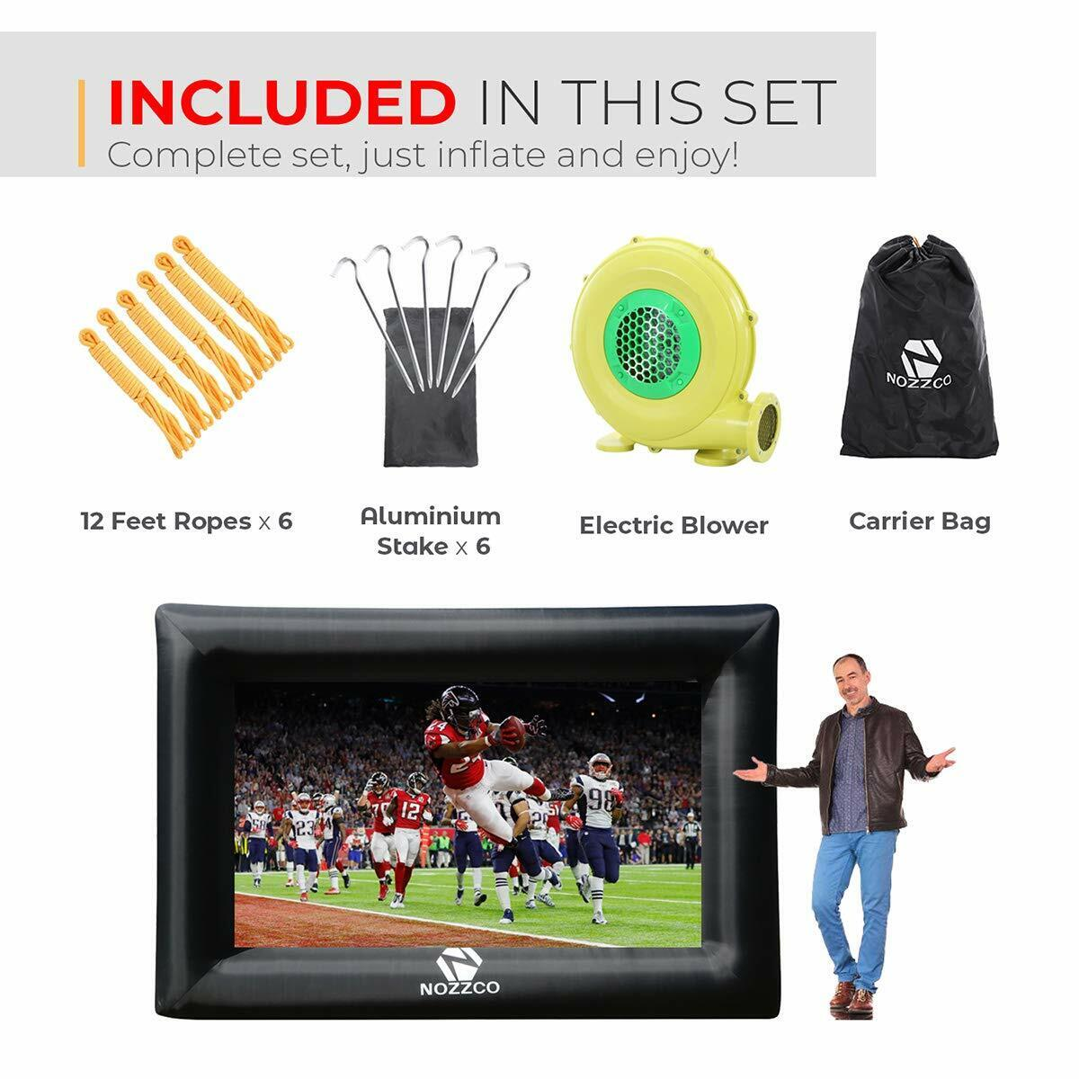 Outdoor Movie Screen 16 FT Inflatable Projector Screen compl